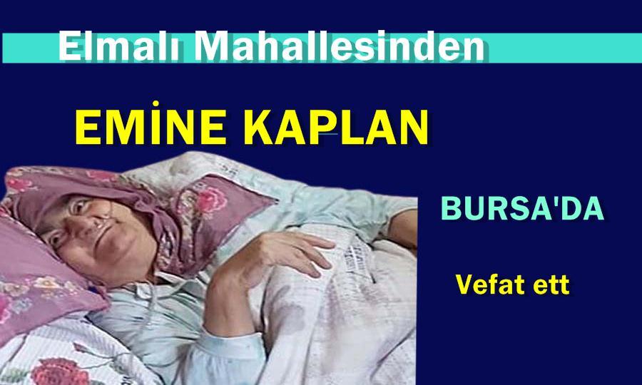 Elmalı Mahallesinden Emine Kaplan Bursa'da vefat etti