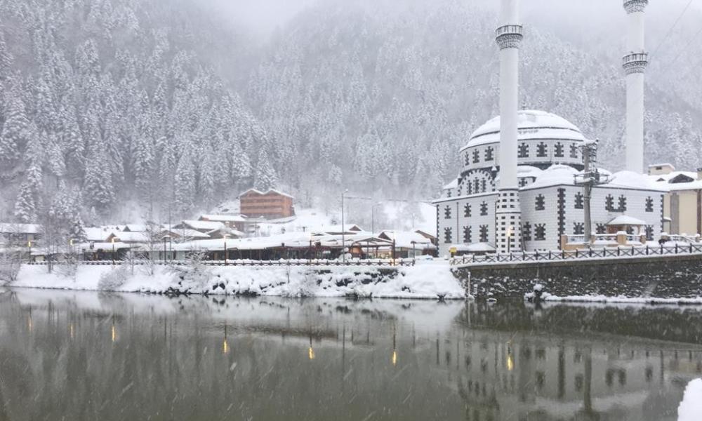 Uzungöl'e mart karı yağdı 2