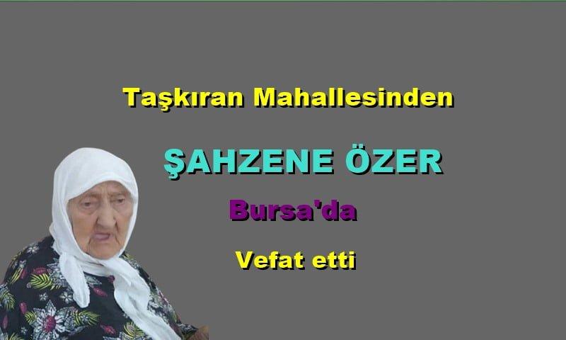 Taşkıran Mahallesinden Şahzene Özer Bursa'da vefat etti