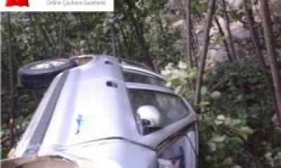 Köy yolunda kaza ucuz atlatıldı