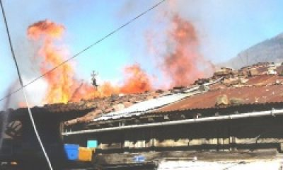 Çaykara'da Yangın